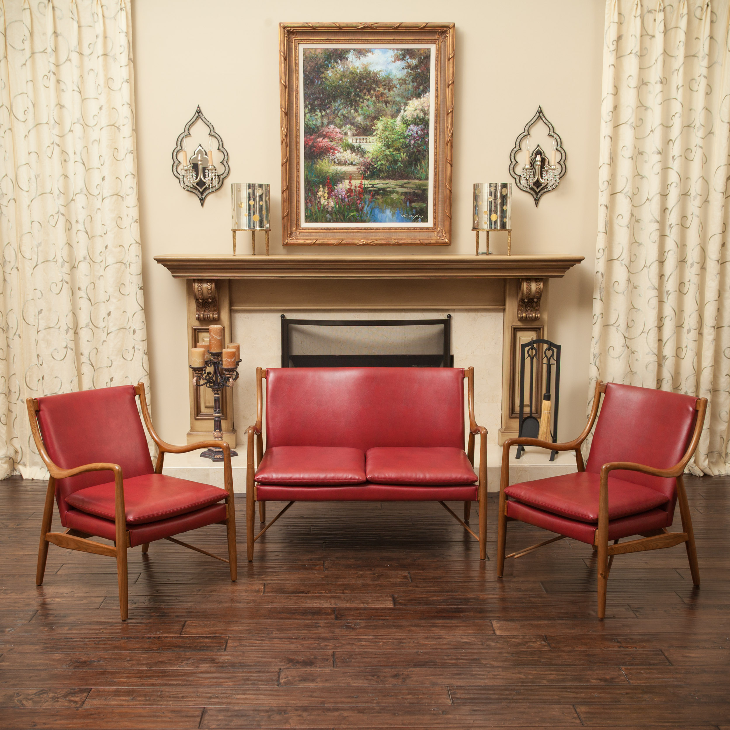 Christopher Knight Home Newport Wood Bonded Leather