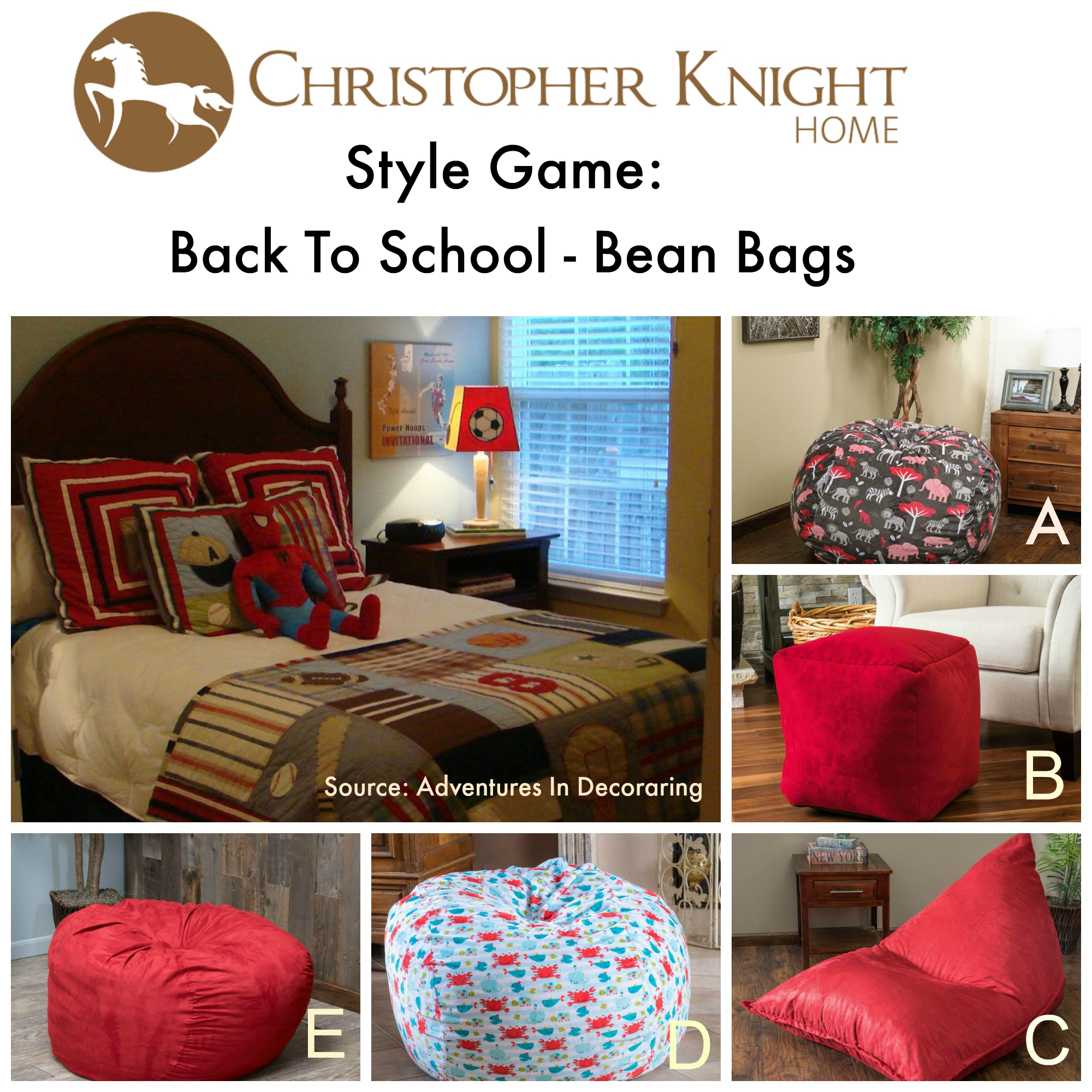 Style game bean bags christopher knight home for Bag decoration games