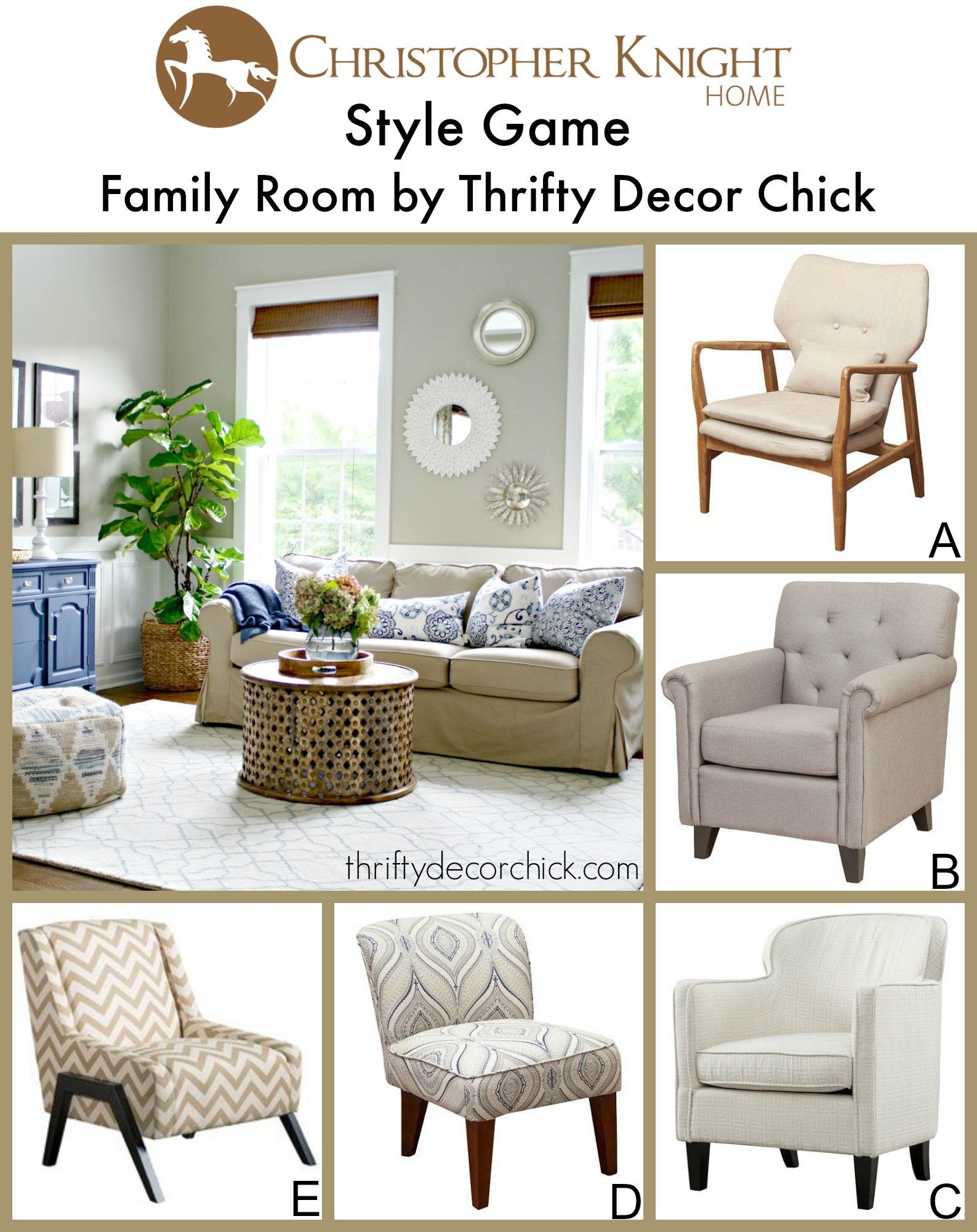 Style game family room by thrifty decor chick for Thrifty decor