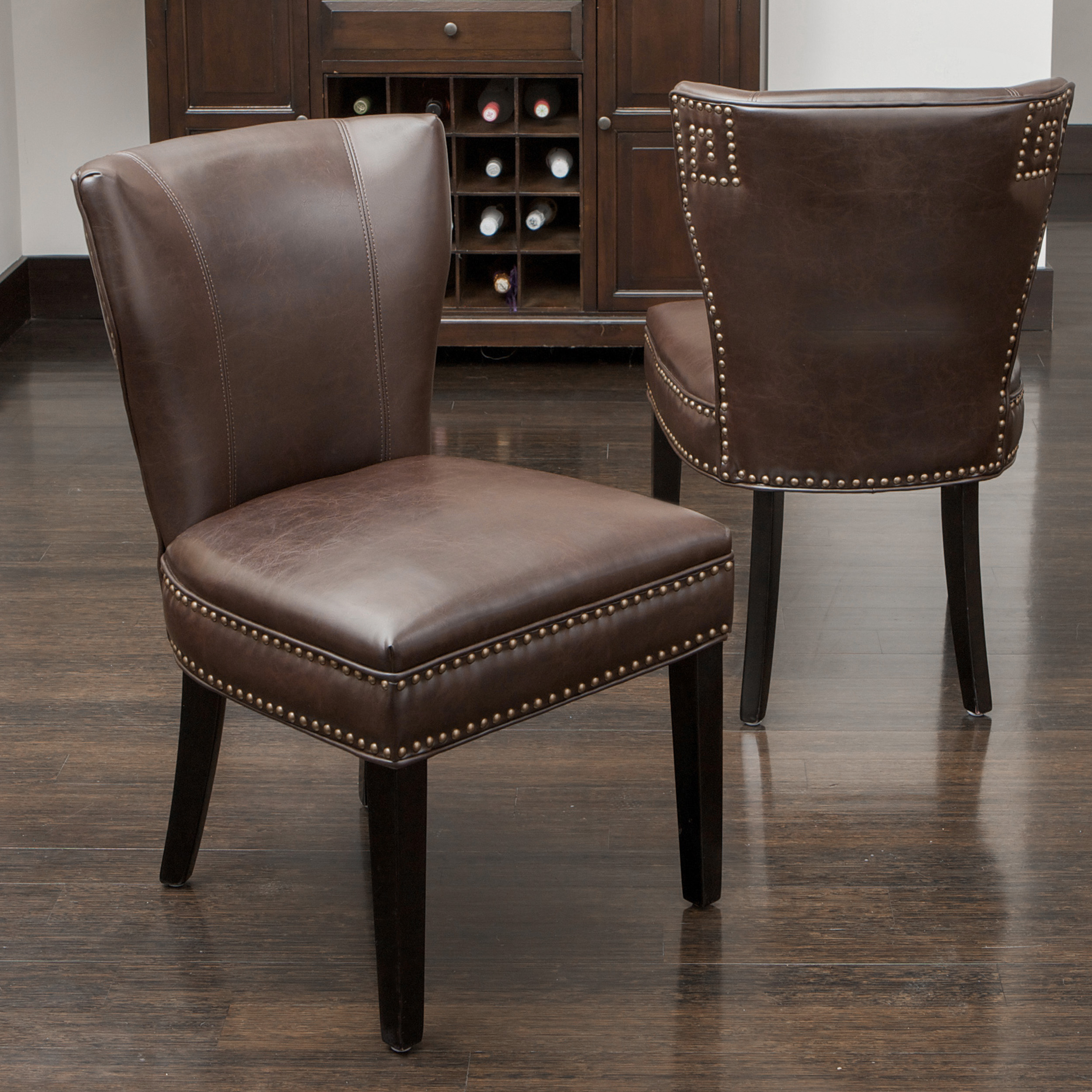 Best of the bunch the jackie brown jackie ocean blue for Brown leather dining room chairs