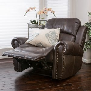 Christopher Knight Home Charlie Bonded Leather Glider Recliner Club Chair