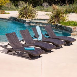 Christopher Knight Home Toscana Outdoor Brown Wicker Lounge Set of 4