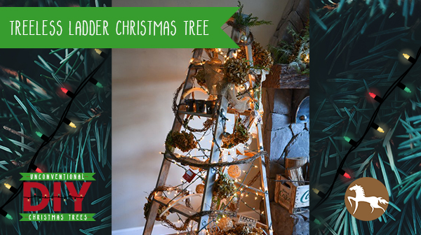 Unconventional DIY Christmas Trees - Ladder Christmas Tree